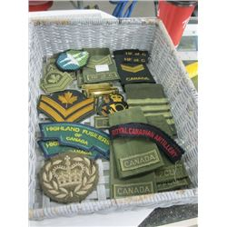BASKET OF ASSORTED MILITARY CRESTS