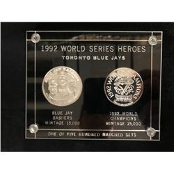 1992 WORLD SERIES HEROES TORONTO BLUE JAYS 2 COIN SET (.999 FINE SILVER ONE TROY OZ. PER COIN)
