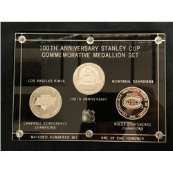 100TH ANNIVERSARY STANLEY CUP COMMEMORATIVE MEDALLION SET KINGS vs CANADIENS (.999 FINE SILVER)