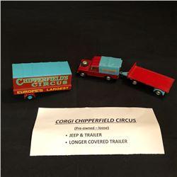 CORGI CHIPPERFIELD CIRCUS JEEP & TRAILER/ LONGER COVERED TRAILER (LOOSE)