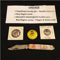 VINTAGE HOPALONG CASSIDY/ KELLOG'S/ ROY ROGERS COLLECTIBLES LOT