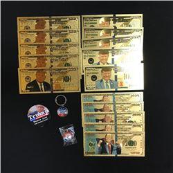 DONALD TRUMP GOLD FOILED NOVELTY BANK NOTES & PINS LOT