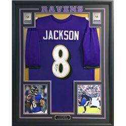 Lamar Jackson Signed 35x43 Custom Framed Jersey (JSA COA)