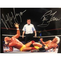 HULK HOGAN & RICK FLAIR DUAL SIGNED 8 X 10 WRESTLING PHOTO (PSA/DNA COA)