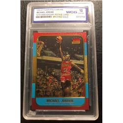 1996-97 FLEER POLYCHROME MICHAEL JORDAN 10th ANNIVERSARY Rookie Card BRUSHED GOLD (10 GEM MINT)