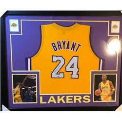 CUSTOM FRAMED KOBE BRYANT SIGNED LA LAKERS BASKETBALL JERSEY (STEINER COA)