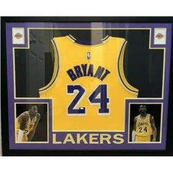 CUSTOM FRAMED KOBE BRYANT SIGNED LA LAKERS BASKETBALL JERSEY w/ HOLOGRAM