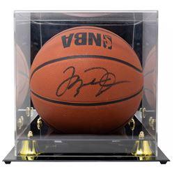 Michael Jordan Signed NBA Slam Dunk Basketball with Display Case (Beckett LOA)