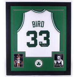 Larry Bird Signed 32x35 Custom Framed Jersey (Beckett COA)
