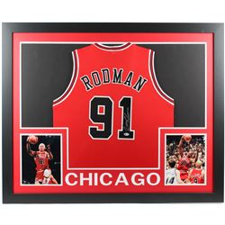 Dennis Rodman Signed 35x43 Custom Framed Jersey (Beckett COA)