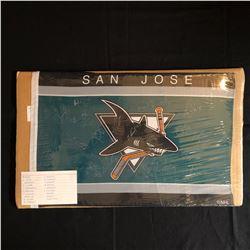 SAN JOSE SHARKS TEAM SIGNED FLAG w/ RICCI, MARLEAU, THORNTON, NABOKOV + MORE)