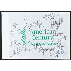 2018 AMERICAN CENTURY CHAMPIONSHIP MULTI-SIGNED FLAG w/ PAYTON, TATE, CLEMENS, LARRY THE CABLE GUY)