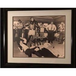 MUHAMMAD ALI SIGNED 16X20 FRAMED PHOTO w/ THE BEATLES (INCLUDES COA)