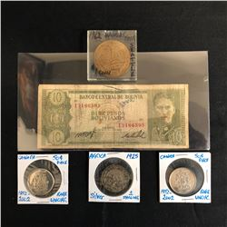 BANK NOTE/ COINS LOT (CANADA, AFRICA, BOLIVIA)