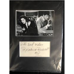 ROSALUND RUSSELL SIGNED INDEX CARD PHOTO DISPLAY
