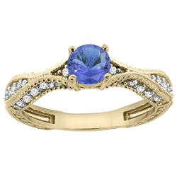 0.84 CTW Tanzanite & Diamond Ring 14K Yellow Gold - REF-70Y2V