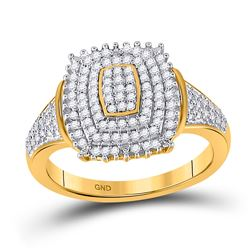 Womens Round Diamond Rectangle Cluster Ring 1/4 Cttw 10kt Yellow Gold - REF-23N9F