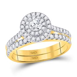 Round Diamond Bridal Wedding Ring Band Set 1 Cttw 14kt Yellow Gold - REF-82A9M