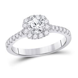 Round Diamond Halo Bridal Wedding Engagement Ring 1 Cttw 14kt White Gold - REF-186R5X