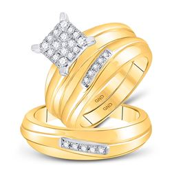 His Hers Round Diamond Square Matching Wedding Set 3/8 Cttw 10kt Yellow Gold - REF-47H9R