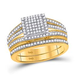 Round Diamond Bridal Wedding Ring Band Set 3/8 Cttw 10kt Yellow Gold - REF-32H5R