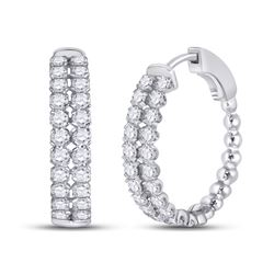 Womens Round Diamond Double Row Hoop Earrings 2 Cttw 14kt White Gold - REF-109F5W