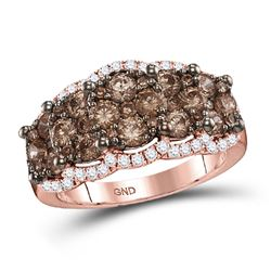 Womens Round Brown Diamond Band Ring 2 Cttw 14kt Rose Gold - REF-107R9X