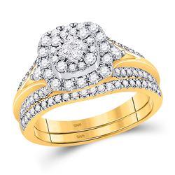 Princess Diamond Bridal Wedding Ring Band Set 3/4 Cttw 14kt Yellow Gold - REF-76X5A