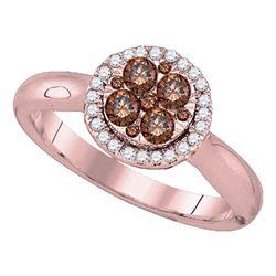 Round Brown Diamond Cluster Halo Bridal Wedding Engagement Ring 1/2 Cttw 14kt Rose Gold - REF-45F5W