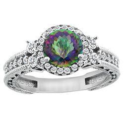 1.46 CTW Mystic Topaz & Diamond Ring 14K White Gold - REF-77Y4V