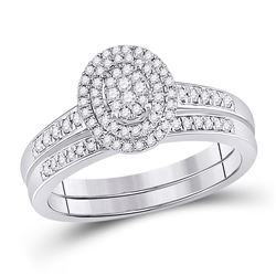Round Diamond Bridal Wedding Ring Band Set 1/3 Cttw 10kt White Gold - REF-30F5W