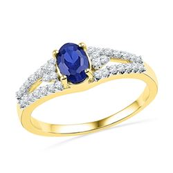 Womens Oval Lab-Created Blue Sapphire Solitaire Diamond Ring 1 Cttw 10kt Yellow Gold - REF-15M5H