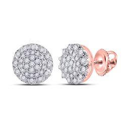 Womens Round Diamond Cluster Earrings 1/2 Cttw 14kt Rose Gold - REF-39W5K