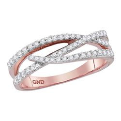 Womens Round Diamond Crossover Woven Band Ring 3/8 Cttw 10kt Rose Gold - REF-29Y9N