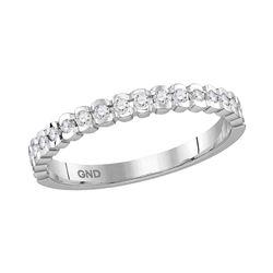 Womens Machine Set Round Diamond Band Ring 1/4 Cttw 14kt White Gold - REF-25Y9N