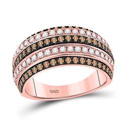 Womens Round Brown Diamond Stripe Band Ring 1 Cttw 14kt Rose Gold - REF-84Y9N