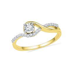 Round Diamond Solitaire Bridal Wedding Engagement Ring 1/6 Cttw 10kt Yellow Gold - REF-16W5K