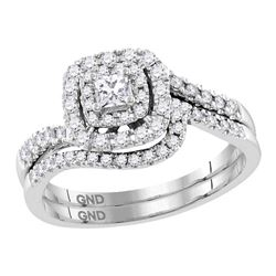 Princess Diamond Bridal Wedding Ring Band Set 1/2 Cttw 14kt White Gold - REF-57W5K