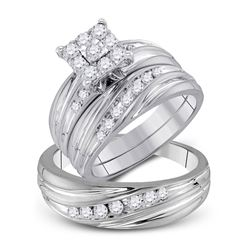 His Hers Round Diamond Cluster Matching Wedding Set 3/4 Cttw 10kt White Gold - REF-60X9A