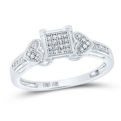Womens Round Diamond Heart Square Cluster Ring 1/10 Cttw 10kt White Gold - REF-13K5Y
