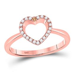 Womens Round Brown Diamond Heart Ring 1/6 Cttw 10kt Rose Gold - REF-18A9M