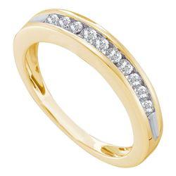 Womens Round Diamond Wedding Single Row Band 1/4 Cttw 10kt Yellow Gold - REF-19Y9N