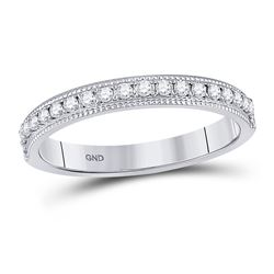 Womens Round Diamond Single Row Band Ring 1/4 Cttw 14kt White Gold - REF-21Y5N