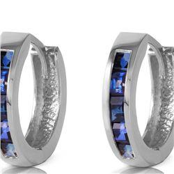 Genuine 1.30 ctw Sapphire Earrings 14KT White Gold - REF-40T5A