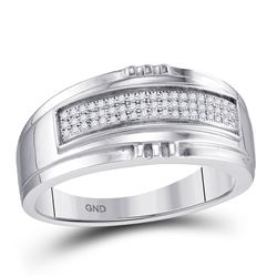 Mens Round Diamond Band Ring 1/6 Cttw 10kt White Gold - REF-18X9A