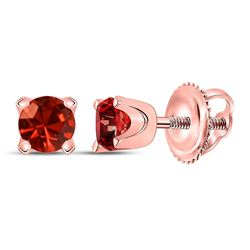 Womens Round Red Color Enhanced Diamond Solitaire Earrings 1/2 Cttw 10kt Rose Gold - REF-27Y9N
