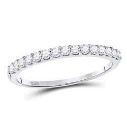 Womens Round Pave-set Diamond Single Row Wedding Band 1/4 Cttw 14kt White Gold - REF-19M9H