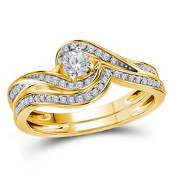 Round Diamond Bridal Wedding Ring Band Set 1/3 Cttw 10kt Yellow Gold - REF-39N9F