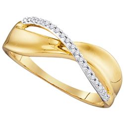 Womens Round Diamond Single Row Crossover Band Ring 1/20 Cttw 10kt Yellow Gold - REF-15N5F