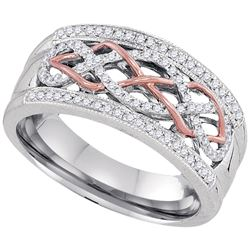 Womens Round Diamond Filigree Band Ring 1/4 Cttw 10kt Two-tone Gold - REF-29H9R